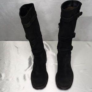 Aquatalia Black Boots 6.5 Gusset Half Zip Silver
